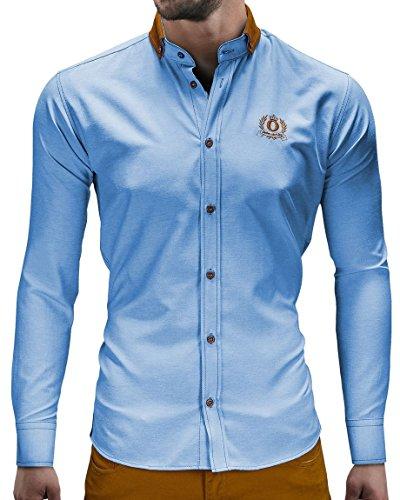 Ombre-75 - K76 - Chemise slim - coutures piquées Bleu clair