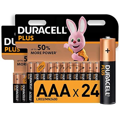 Oferta de Duracell Plus AAA, Pilas Alcalinas , paquete de 24, 1,5 Voltios LR03 MN2400