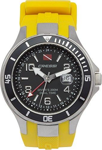 Cressi Traveller Dual Time RelojSubmarino, Unisex Adulto, Plata / Negro / Amarillo, Talla Única