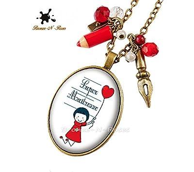 Sautoir Super Maîtresse cadeau fin d'anné fille ballon rouge collier