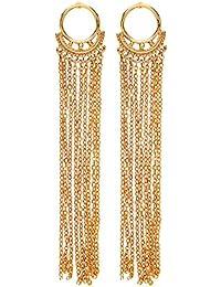 Front Row Gold Colour Long Drop Chain Tassel Earrings