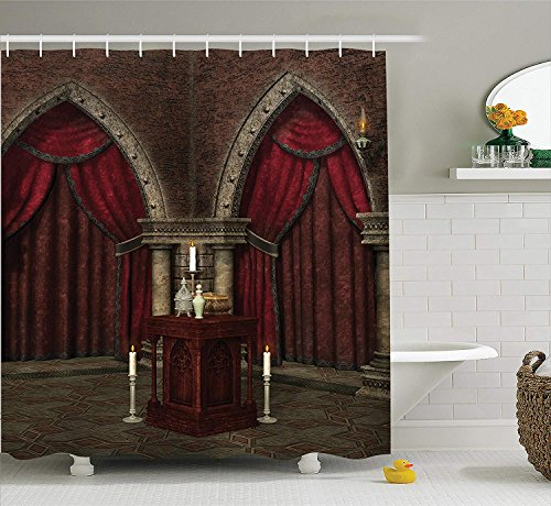 JIEKEIO Gothic House Decor Shower Curtain Set, Mysterious Dark Room in Castle Ancient Pillars Candles Spiritual Atmosphere Pattern, Bathroom Accessories, 60 * 72inchs Long, Ruby Umber -