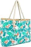 styleBREAKER XXL Strandtasche mit Flamingo Palmen Print und Reißverschluss, Schultertasche,...