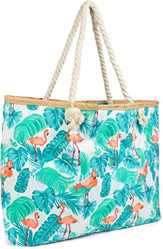 styleBREAKER XXL Strandtasche mit Flamingo Palmen Print und Reißverschluss, Schultertasche, Shopper, Damen 02012247, Farbe:Blau-Grün-Orange