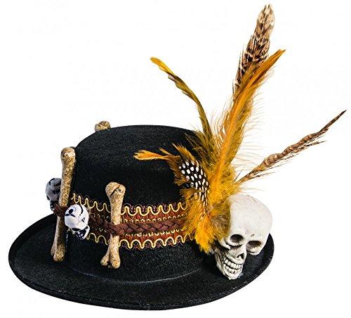 shoperama Voodoo Mini-Hütchen mit Totenkopf und Knochen Schwarz/Braun Hut Halloween ()