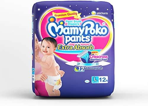MamyPoko Pants Extra Absorb Diapers, Large  Pack of 12