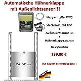 Direkt vom Hersteller !!! Automatische Hühnerklappe + Steckernetzteil + Außenlichtsensor + Klappe bzw. Schieber