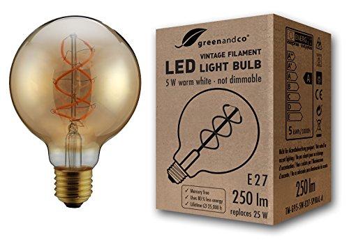 greenandco® Vintage Glühfaden LED Lampe ersetzt 25W E27 G95 5W 250lm 2000K extra warmweiß 360° 230V flimmerfrei, nicht dimmbar, 2 Jahre Garantie