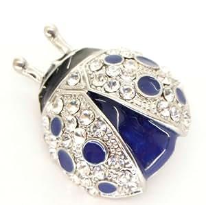 Broche Coccinelle cristal émail Bleu