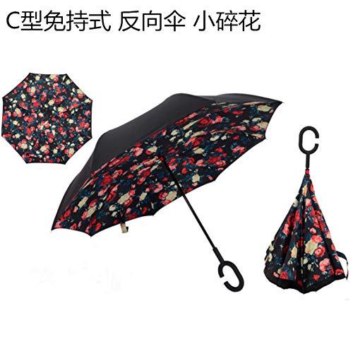 A Prueba de Viento inversa Plegable de Doble Capa Paraguas invertido Auto paragüero Rain/Sol Mujeres/Meny Niño Duradero, Floral