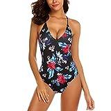 Modfine Bañador Mujer Una Pieza Impreso Floral Deportivo Bikinis Ropa de Baño Estampada 2 Talla-XXL