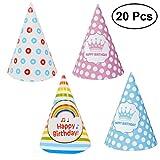 TOYMYTOY 20 piezas sombreros de cono de cumpleaños, sombreros de fiesta para niñas y niños