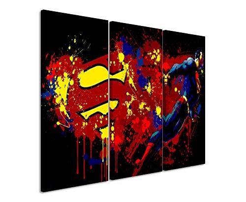Lienzo 3piezas Superman _ dibujos animados _ 3x 90x 40cm (total 120x 90cm) _ Acabado impresión artística Schöner auténtica Lienzo como Cuadro En Bastidor