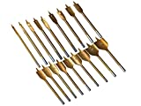 18-teiliges Set Flachfräsbohrer titanbeschichtet 6 mm - 38 mm mit geschliffener Zentrierspitze