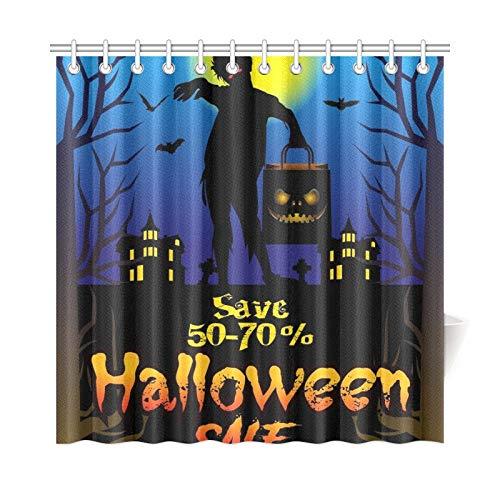 ad Vorhang Halloween Angebot Poster Design Konzept Polyester Stoff Wasserdicht Duschvorhang Für Badezimmer, 72X72 Zoll Duschvorhang Haken Enthalten ()