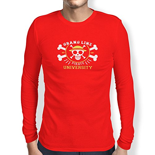 TEXLAB - Grand Line Pirates University - Herren Langarm T-Shirt Rot