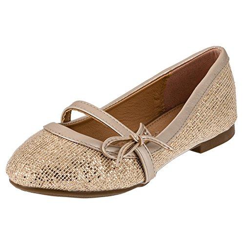 dchen Ballerinas mit Einer Innensohle aus echtem Leder/Schuhe für Partys und Freizeit in vielen Farben M202go Gold 33 EU/Fußlänge 19,5 cm ()