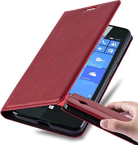 Cadorabo Hülle für Nokia Lumia 650 - Hülle in Apfel ROT – Handyhülle mit Magnetverschluss, Standfunktion und Kartenfach - Case Cover Schutzhülle Etui Tasche Book Klapp Style