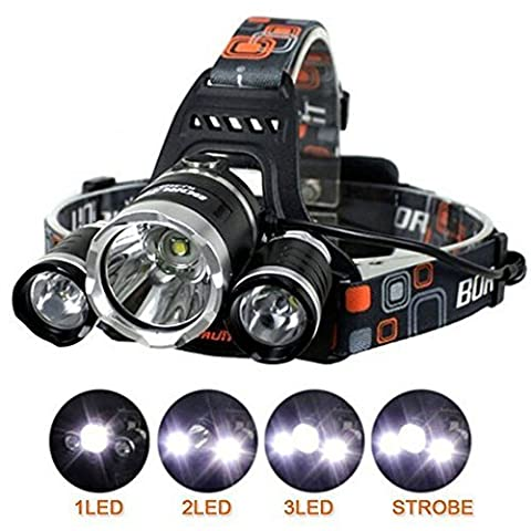 Super Bright 6000LM Rechargeable Headlamp Headlight with Wall Charger & FREE 2 x 18650 Batteries + UK Mains Charger [3 CREE Bulbs XML-T6 LED]