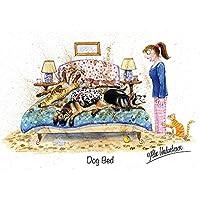 """Dog Greeting Card""""Dog Bed"""" by Alex Underdown"""