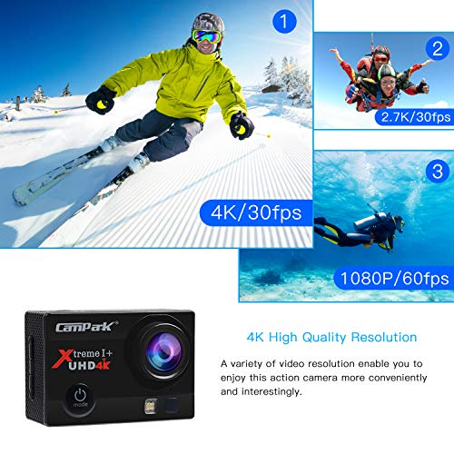 Campark ACT74 Cámara Deportiva 4k Ultra HD 16MP (WiFi, 170° Ángulo Ajustable Lens, Camara Acuatica de 30M con 2 Baterías y Accesorios Kit Compatible con gopro)
