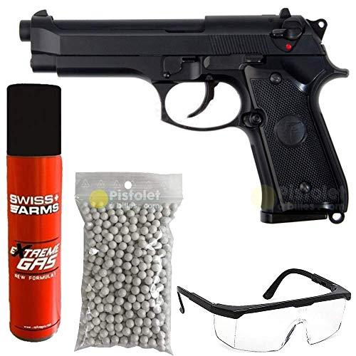 Saigo Airsoft-Pack Pistolet 92 à Gaz Noir/Semi-Automatique/Puissance 0.5 Joule/avec Accessoires