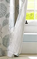 """Floral Flowers Leaves Duck Egg Blue Cream Lined 66"""" X 72"""" - 168cm X 183cm Ring Top Curtains by Curtains"""