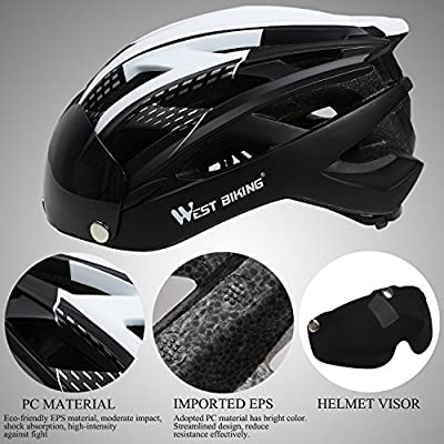 ICOCOPRO Bike Helmet with Detachable Magnetic Visor Shield Goggles & Pads,Adjustable Cycling Helmet for Men Women CPSC Safety Certified (5 Colors)Black/Red/Yellow/Blue/Green by ICOCOPRO