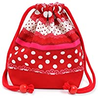 Preisvergleich für Harmony polka dot and lace (small size) cup gusset bag ribbon drawstring Gokigen lunch (red) x Ox red made in Japan N3562700 (japan import) by COLORFUL CANDY STYLE