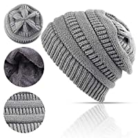 Lobeve Cable Knit Beanie Winter Warm Fleeced Fuzzy Lined Skull Hat for Womens Mens-Light Grey