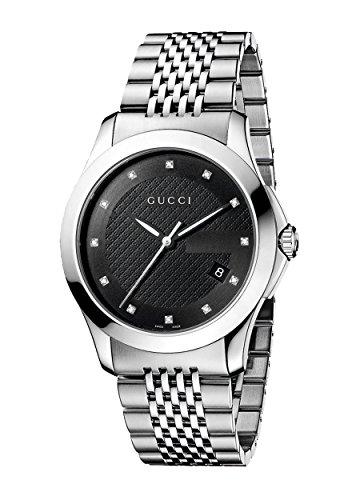 Gucci YA126405 - Reloj de cuarzo para hombre, correa de acero inoxidable