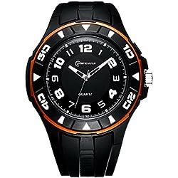 Unisex 30M Waterproof Night Light Simple Style PU Leather Strap Quartz Wrist Watch(Orange)