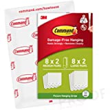 Command Medium and Large Picture Hanging Strips, 8 x Medium Pairs and 8 x Large Pairs, White