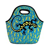 Jieaiuoo Portable Lunch Bag,Reptile,Hawaiian Exotic Lizard Dancing with Many Mascots on The Ground Fun Illustration,Black Blue Yellow,for Kids Adult Thermal Insulated Tote Bags