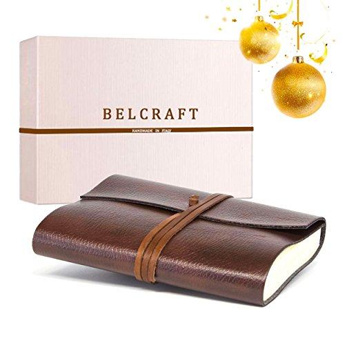 Tivoli A5 mittelgroßes Notizbuch aus recyceltem Leder, Eleganter Weihnachtsgedanke mit Geschenkbox, Handgearbeitet in klassischem Italienischem Stil, Tagebuch A5 (15x21 cm) Braun