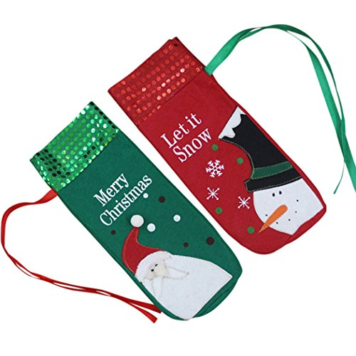 Weihnachtswein Beutel, Funpa 2Pcs Wein Flaschen Abdeckungs Wein Geschenk Verpackung für Weihnachtsdinner Tabellen Dekor (Flasche Begünstigt Wein)