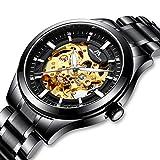 Relojes Hombre Reloj Mecánico Automático Militar Deportes Impermeable Oro Esqueleto Lujo Diseño Relojes de Pulsera de Acero Inoxidable Negro Luminosos Analógico