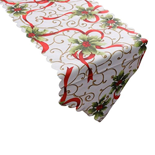 Prevently Brand Happy Bright Color New Fashion Decorative Christmas Santa Claus Tapestry Poinsettia Fabric Table Runner 14x71 Inch (A)