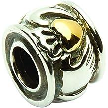 Sterling Argento & Placcato Oro Rotondo Irlandese Claddagh ciondolo a forma di cuore da Tara Diary