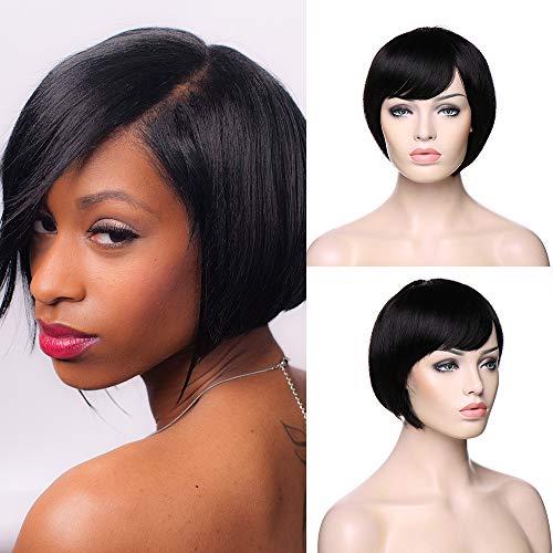 TESS Echthaar Perücke Bob Brasilianische Haare Schwarz Kurz Human Hair Wig Glatt günstig Perücken #1B ()