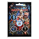 Iron Maiden badge pack 5 x Pin Button Albums band logo Book of Souls offiziell