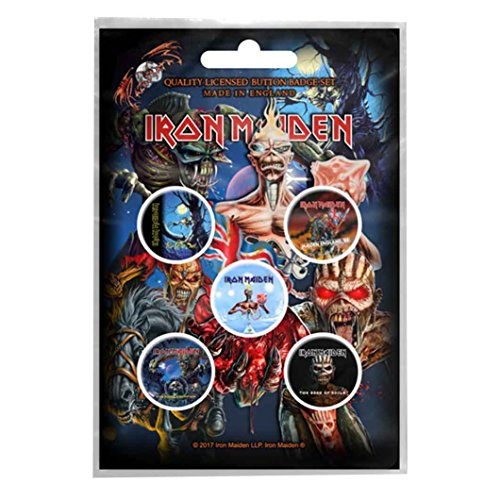 Preisvergleich Produktbild Iron Maiden badge pack 5 x Pin Button Albums band logo Book of Souls offiziell