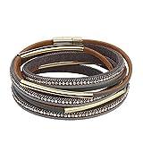 JAOYU Leather Bracelet Women Rhinestones Charms Bracelets for Girls Bangle Handmade Jewelry - Mom, Sister, Daughter Gifts