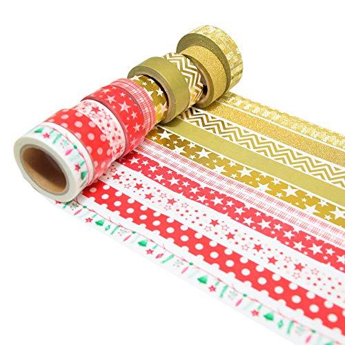 K-LIMIT 11er Set Washi Tape Dekoband Masking Tape Klebeband Scrapbooking DIY Rentier Schneemann Santa Claus Nikolaus Weihnachten Christmas 9436 -
