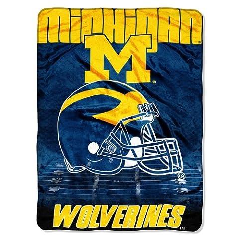 NCAA Michigan Wolverines 60-Inch-by-80-Inch Micro Raschel Blanket, Overtime Design by Northwest