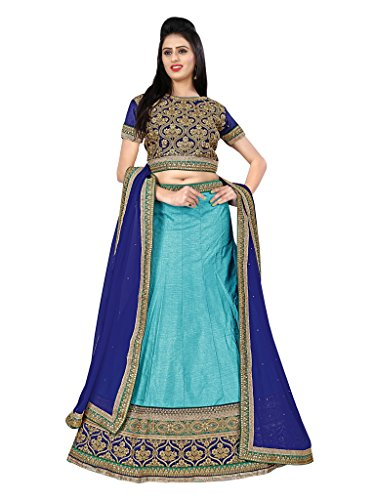 Lehenga (Vastrang\'s Beautiful Sky Blue Color Designer Embroidered Lehenga Choli for Women)