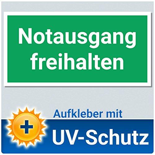 Notausgang freihalten Aufkleber Schild, 20x10cm mit UV-Schutz, Notausgangsschild, Fluchtweg / Rettungsweg Kennzeichnung Beschilderung