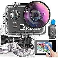 Yarber AR01 8K 20MP Action Cam, Digitale Actionkamera mit WiFi Touchscreen, EIS 40M unterwasserkamera, 8X Zoom Sprachsteuerung Fernbedienung Zubehör Kit Sportkamera