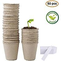 LFS Kits de Germinación con Semilleros Macetas Biodegradables y Marcadores para Plantas, Paquete de 80