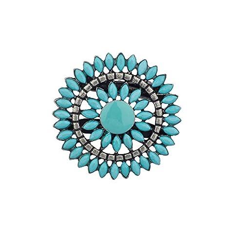 Lux Accessoires bleuté Sun Star Floral perles Broche Clip